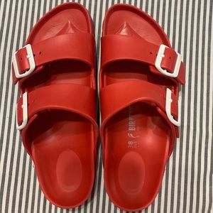 Red rubber Birkenstocks Eva Arizona Sandal slides
